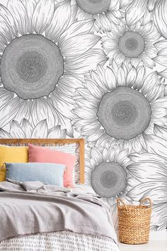 If you're looking for a more versatile floral wallpaper, this black and white sunflower wallpaper is exactly that. Pink Marble Wallpaper, Daisy Wallpaper, Sunflower Wallpaper, Mobile Wallpaper, Sunflower Head, Sunflower Design, White Sunflower, Inspirational Wallpapers, Retro Floral