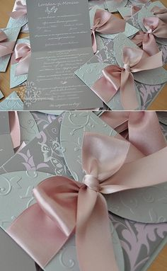 Handmade by Meda: Dusty Rose and Silver Butterfly Wedding Invitations