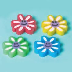 Colorful Daisy Erasers (1 dz) by Amscan. $3.10. 1 Dozen Colorful Daisy Erasers.. Assorted Colors.. Erasers Measure 1 1/2 Inches x 1 1/8 Inches x 1/4 Inch.. Don't use boring school supplies at school when you can use these cute Colorful Daisy Erasers! These colorful flowers go with most girly stationary sets sold by Designed 2B Sweet! Girls of all ages are sure to love these flowery erasers!
