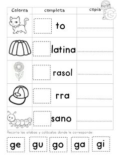 Spanish Lessons For Kids, Spanish Teaching Resources, Science Worksheets, Writing Worksheets, Bilingual Classroom, Rhyming Words, Pre Writing, Home Schooling, Preschool Activities