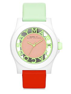 Marc by Marc Jacobs - Block Leather & Nylon Watch/Green-Red - Saks.com