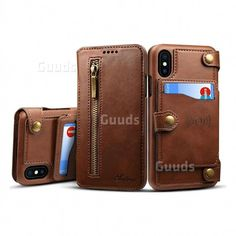 Suteni Retro 2 in 1 Separable Metal Zipper Buttons PU Leather Wallet Phone Case for iPhone XS / X / 10 inch) - Brown , magnetic design, auto attraction to the magnetic car holder, Guuds Wholesale Leather Gifts, Leather Case, Pu Leather, Brown Leather, Iphone Wallet Case, Iphone Case Covers, Buy Cell Phones Online, Iphone Cases Disney, Tandy Leather
