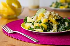 Tropical Mango, Banana, & Pineapple Kale Salad with Creamy Pineapple Lime Coconut Dressing--there is nothing about this that does not sound utterly delicious