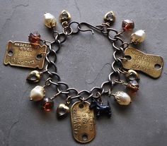 Vintage Scottie Westie Dog Charm Bracelet in Amber, Pearls and Hearts with Vintage Dog Tags and by CharmedMenagerie