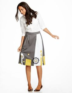 Bold colorful midi party skirt that covers knees | Follow Mode-sty for stylish modest clothing #nolayering