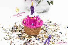 Birthday cupcake haken - gratis haakpatroon - Wolplein.nl | Alles voor breien en haken!