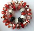 30 pieces Authentic Pandora 925 ale silver beads glass murano red white