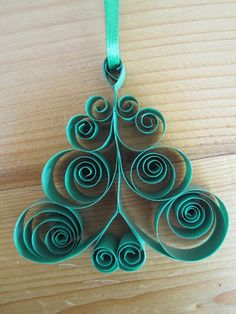 Quilled Christmas Tree Holiday Ornament by GrandFinaleArt on Etsy, $7.00
