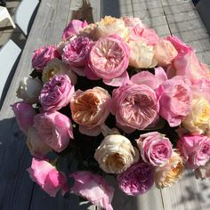 Mixed Bouquet with #Juliet, #Miranda, #Carey and #Constance Garden Roses from David Austin's cut flower collection. Order them online at www.parfumflowercompany.com or... just visit your local florist and ask for them!