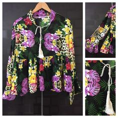 In store now: Multicolor Flower..., visit http://ftfy.bargains/products/multicolor-flowers-on-black-ruffled-sleeve-top-with-front-tie?utm_campaign=social_autopilot&utm_source=pin&utm_medium=pin  #amazing #affordable #fashion #stylish
