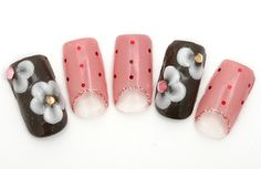 nail 1355 -- French reverse in pink color and cute Valentine's chocolate