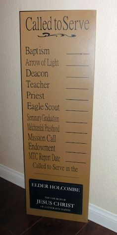 Awesome LDS goal board for boys.  I'd change it a bit for girls by making a plaque for the temple.  I'd also add Faith in God and Duty to God (boys), and Faith in God and YW Recognition (girls).