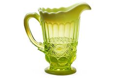 "♥ Mosser Glass Co. Opalescent Pitcher - Vaseline uranium glass pitcher in Eye-Winker pattern. 7.25""Hx4.75""Dia  125 - orig. 199"