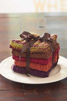 Bernat® Harvest Home Hostess Dishcloths Uses Lily SnC hostess dishcloth and Bernat Harvest Cotton Yarn Yarn Projects, Knitting Projects, Crochet Projects, Knitting Patterns, Cloth Patterns, Knitting Ideas, Free Knitting, Knitted Washcloths, Knit Dishcloth