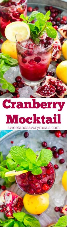 Cranberry Mocktail is the perfect fall drink, sweet and refreshing, can also be made ahead of time for your Thanksgiving feast. #ad #AskCranMa @oceanspray