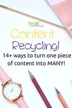 Content Recycling!  14+ ways to turn one piece on content into many! Content creation ideas. Content creation tips and strategies. Content creation for bloggers. Content creation for business owners. #contentcreation #contentcreationstrategy #contentcreationtips #contentcreationforbloggers