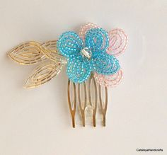 Pink Blue and Silver French Beaded Floral Hair Accessory