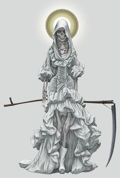 Santa Muerte, the Skinny Lady: Lady of Shadows, an unofficial Mexican saint who watches over the poor and disenfranchised, gay people, transsexuals, and who is supplicated to by numerous organised criminals.