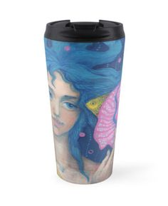 """Little Mermaid, Underwater Fantasy Art, Pink & Blue"" Travel Mugs by…"