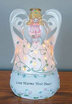 Angel Tealight Candle Holder Figurine Decoration - Love Warms Your Heart - Heart Shaped Cut Out - Pink Roses and Green Leaves - Porcelain - 6 Inch