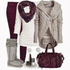 234 Winter Outfit With Scarf and Cardigan
