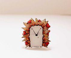 Free shipping Hedgehog brooch pin Hedgehog jewelry by Dinabijushop