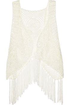 Lisa Maree|Skimming Dreams crocheted cotton-blend fringed vest|NET-A-PORTER.COM