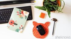 Turn a boring mouse pad into an adorable cat mouse pad with fabric