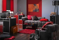 Pop Art Design for Living Room with Grey Sofa and Red Wall