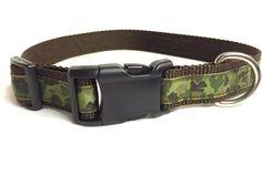 Camoflage dog collar-green dog collar-brown by DazzleDoggieDesigns