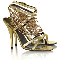 Roberto Cavalli Chain-detailed leather sandals ($1,125) ❤ liked on Polyvore featuring shoes, sandals, heels, zapatos, sapatos, leather sandals, real leather shoes, chain shoes, embellished sandals and embellished shoes