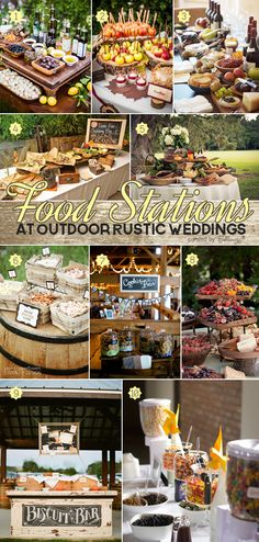 Deliciously stylish ideas for food stations at outdoor rustic weddings from taco bars to wine and cheese displays to pie tables. #uniqueweddingideas #weddingfood