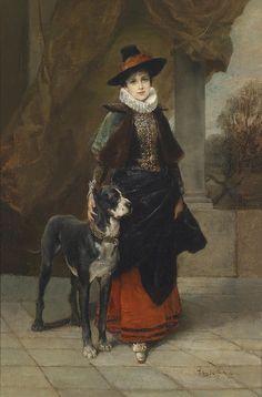 Friedrich August von Kaulbach, Bildnis einer Dame im historisierenden Kostüm mit Dogge, 1920.