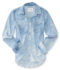 Long Sleeve Bleached Chambray Woven Shirt - Aeropostale