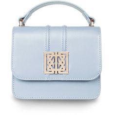 Mini 'Sofia' bag Sky (750 BRL) ❤ liked on Polyvore featuring bags, handbags, leather purses, leather crossbody handbags, monogrammed crossbody purse, leather cross body purse and leather crossbody