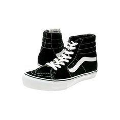 Vans SK8-Hi Core Classics (Black/White) Shoes ($65) ❤ liked on Polyvore featuring shoes, sneakers, men, vans, black, sneakers & athletic shoes, vans sneakers, black and white trainer, white black shoes and roll up shoes