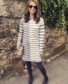 Mystree grey and white striped dress with pocket detail