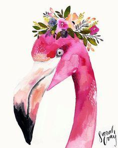 Floral Flamingo Watercolor