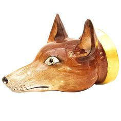 19th Century English Porcelain Fox Mask Stirrup Cup | From a unique collection of antique and modern porcelain at https://www.1stdibs.com/furniture/dining-entertaining/porcelain/