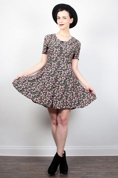 Vintage 90s Dress Mini Dress Liberty Floral Print Soft Grunge Dress 1990s Dress Skater Dress Boho 90s Grunge Shirt Dress S Small M Medium by ShopTwitchVintage #1990s #90s #grunge #softgrunge #etsy #vintage #dress #mini #floral