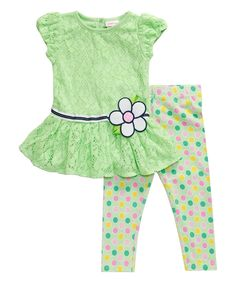 Mint Lace Tunic & Polka Dot Leggings - Infant, Toddler & Girls by Youngland #zulily #zulilyfinds