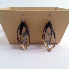 Inner Tube Teardrop Earrings with metallic by BirdIndustries
