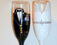 Bride and Groom Military wine glasses