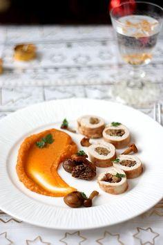 {20} Roulés de dinde aux champignons et marrons, purée de patate douce - Gourmandiseries