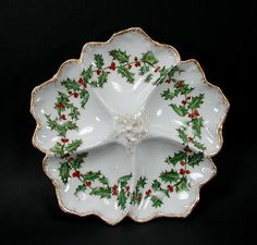 Antique T&V Limoges Holly Berry Oyster Plate Tresseman Vogt Christmas 1892-1907
