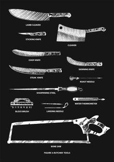 Butcher Tools Silkscreen Print Black by SmashPrinting on Etsy Carnicerias Ideas, Meat Shop, Butcher Knife, Skinning Knife, Butcher Shop, Steak Knives, Vintage Horror, Kitchen Hacks, Kitchen Stuff