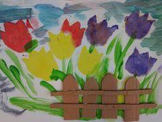 Tulip Garden Stencil Painting *** градина с лалета - отпечатване с темпера и апликиране на велпапе