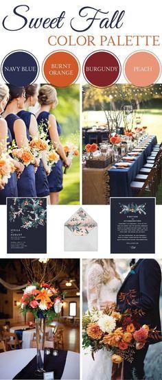 fall wedding inspiration | wedding palette | navy, orange, burgundy, peach |