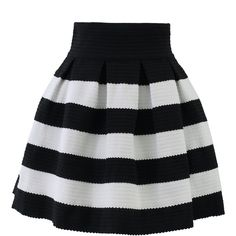 Black and white contrast strips A;line style jersey skirt. Stuck your top in to accent a graceful silhouette. ; Back zip closure ; 100% Polyester ; Machine wa…