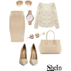 Beige lace blouse ! by zana-k on Polyvore featuring Luella, Kurt Geiger, Furla, FOSSIL, Ray-Ban, Sheinside, beige and shein